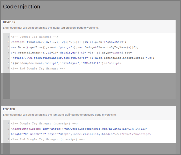 Inject GTM code snippets into Squarespace