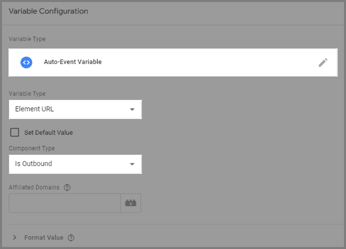 Settings for outbound link auto-event variable
