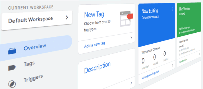 user interface of Google Tag Manager