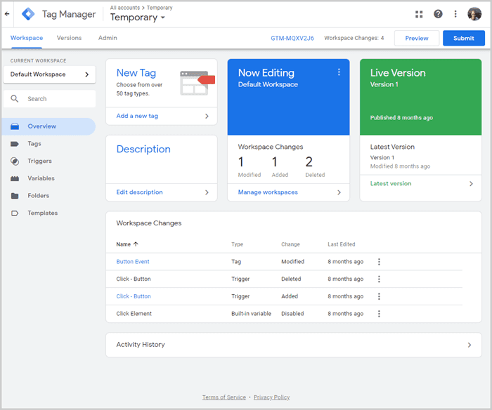 Google Tag Manager overview tab