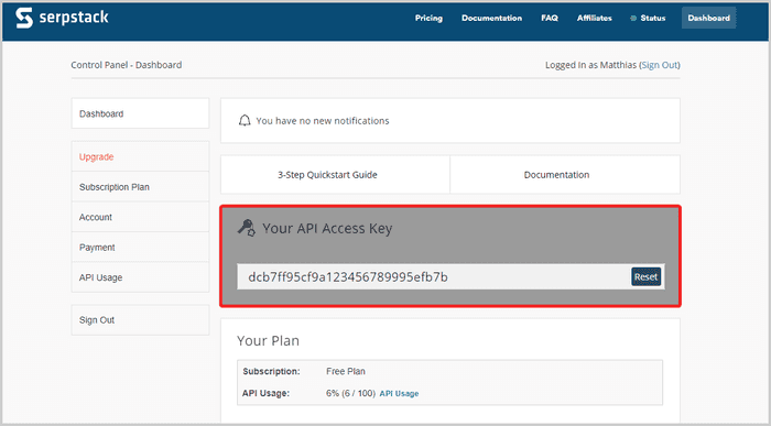 API key on Serpstack's dashboard view
